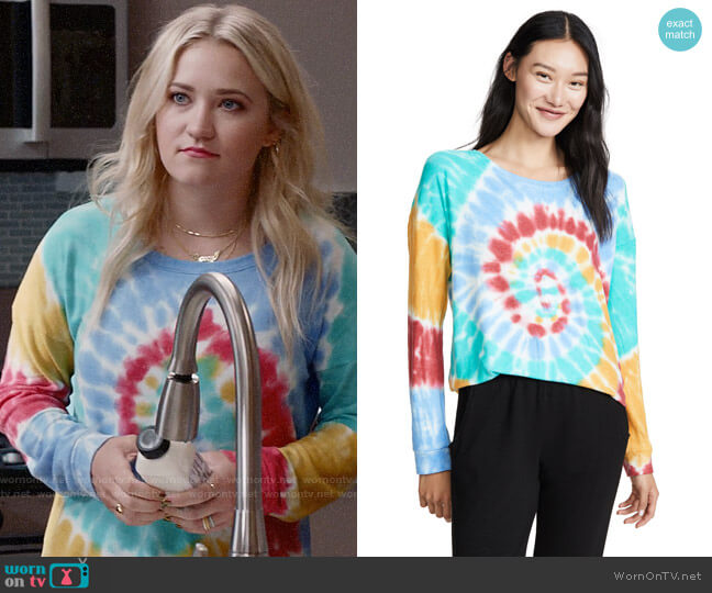 PJ Salvage Peace & Love Sweatshirt worn by Roxy Doyle (Emily Osment) on Almost Family