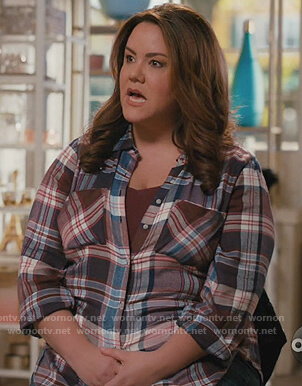 Katie's plaid blouse on American Housewife