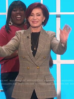 Sharon's plaid blazer on The Talk