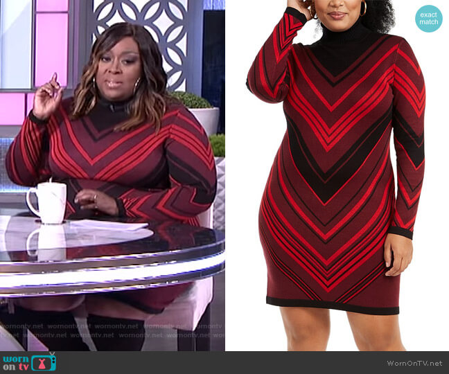 Trendy Plus Size Turtleneck Bodycon Dress by Planet Gold worn by Loni Love  on The Real