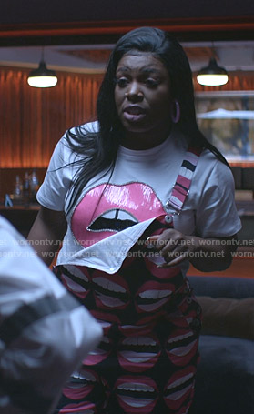 Porsha's white lip print tee on Empire