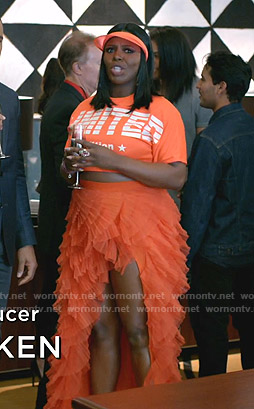 Porsha's orange Limited cropped tee and tulle skirt on Empire