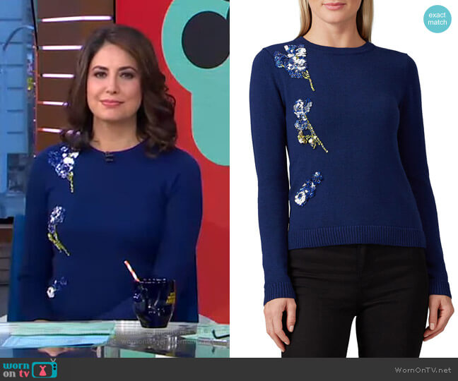 Applique Sweater by Prabal Gurung worn by Cecilia Vega  on Good Morning America