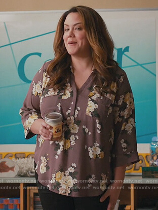 Katie's purple floral blouse on American Housewife