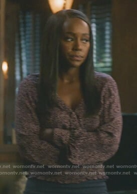 Michaela's floral smocked blouse on How to Get Away with Murder