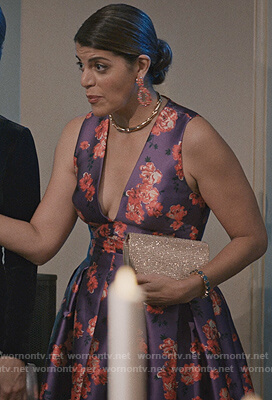Linda Furey's purple floral gown on Madam Secretary