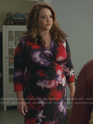 Katie's floral wrap dress on American Housewife