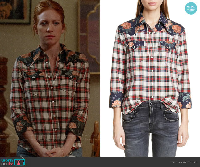 R13 Exaggerated Collar Cowboy Shirt worn by Julia Bechley (Brittany Snow) on Almost Family