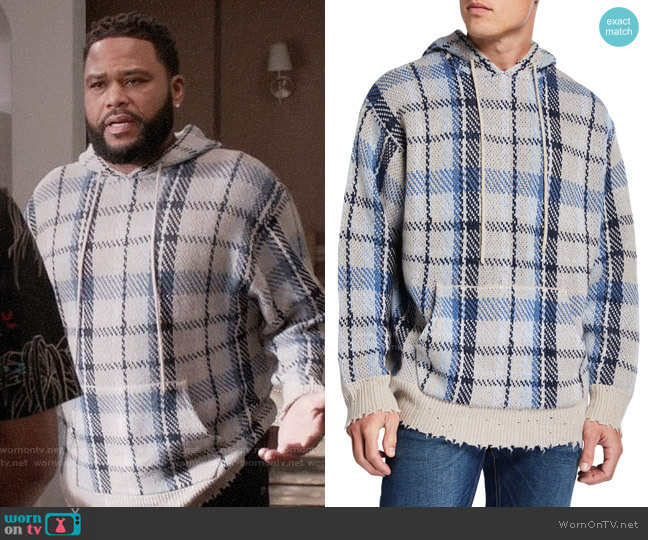r13 Plaid Hoodie Sweater w/ Raw-Edge Trim worn by Andre Johnson (Anthony Anderson) on Blackish