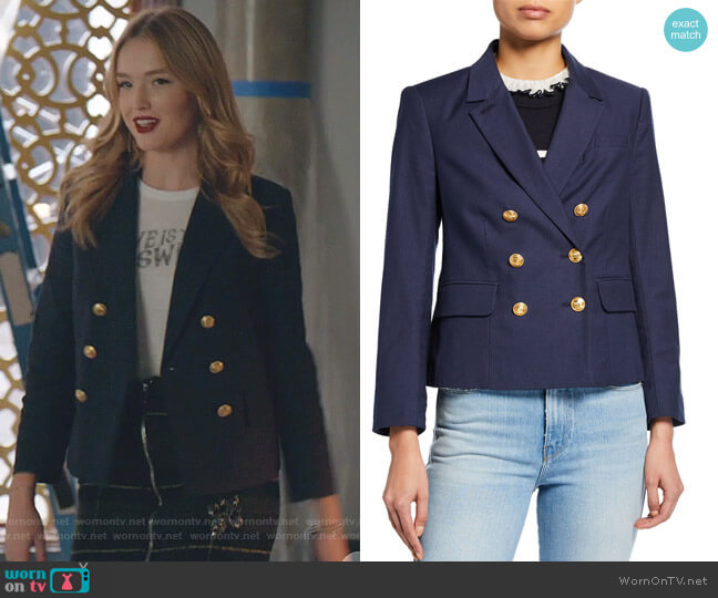 Double Breasted Shrunken Blazer by Frame worn by Kirby Anders (Maddison Brown) on Dynasty