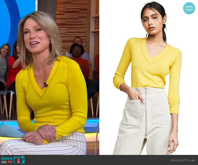 Pamela V Neck Sweater by Rag & Bone worn by Amy Robach  on Good Morning America