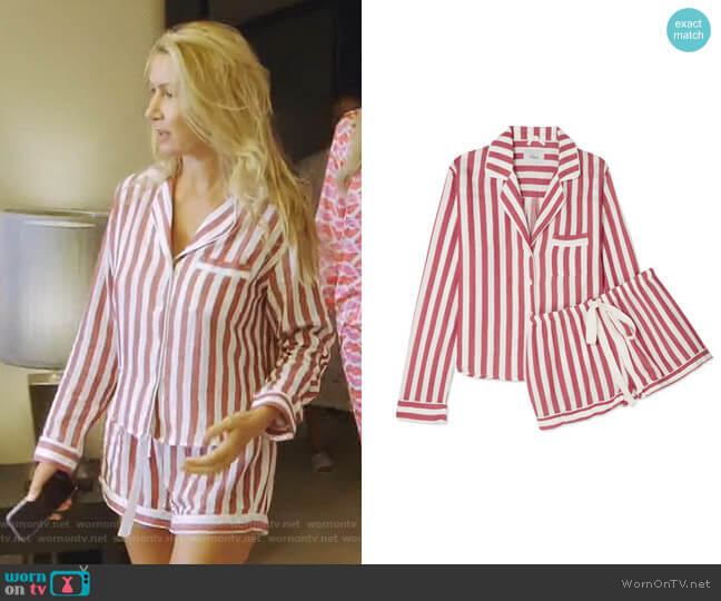 Striped Long-Sleeve Shortie Pajama Set by Rails worn by Kary Brittingham  on The Real Housewives of Dallas