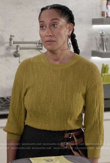 Rainbow's green textured sweater on Black-ish