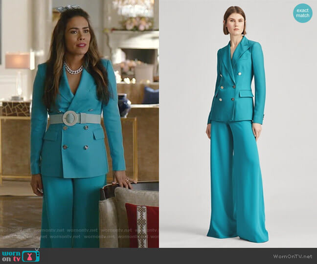 Camden Cashmere Jacket and Daria Wide-Leg Pant by Ralph Lauren worn by Cristal Jennings (Daniella Alonso) on Dynasty