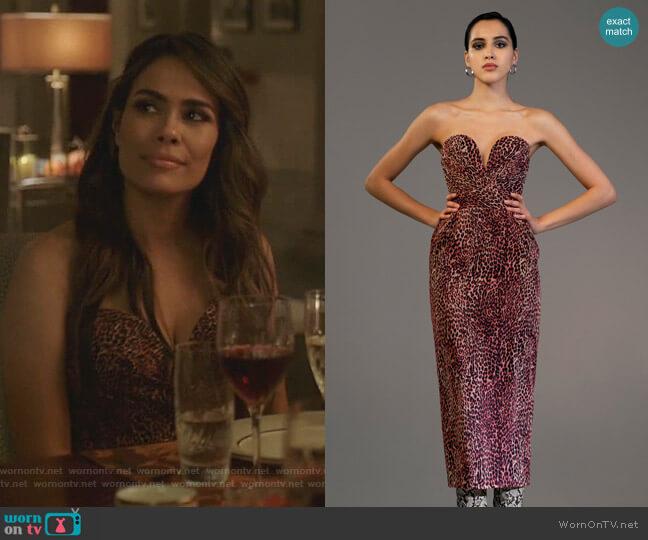 Leopard-Print Chiffon Midi Dress by Rasario worn by Cristal Jennings (Daniella Alonso) on Dynasty