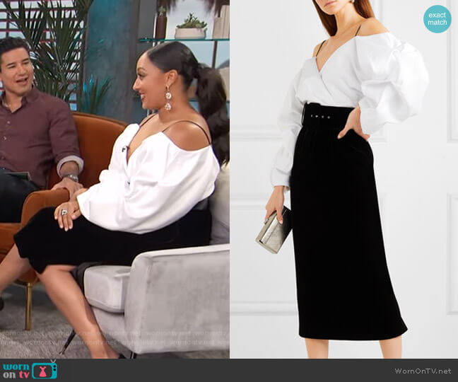Off-the-Shoulder Belted Midi Dress by Rasario worn by Tamera Mowry on Access Hollywood