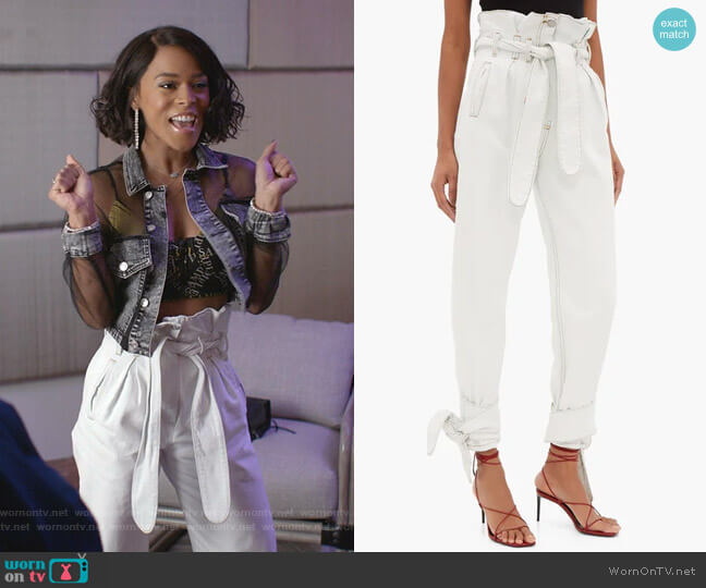 Paperbag Waist Denim Trousers by Re/Done X The Attico worn by Tiana Brown (Serayah McNeill) on Empire