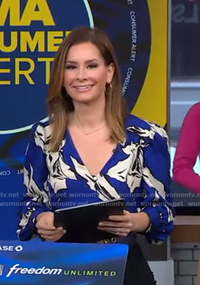 Rebecca's blue floral blouse on Good Morning America