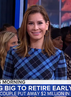 Rebecca Jarvis's blue plaid midi dress on Good Morning America