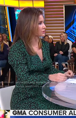 Rebecca Jarvis's green animal print wrap dress on Good Morning America