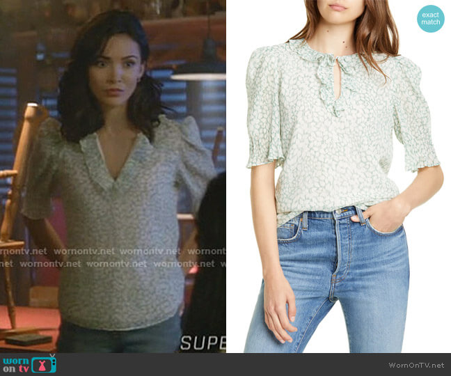 Ikat Leaf Ruffle Top by Rebecca Taylor worn by Bess (Maddison Jaizani) on Nancy Drew