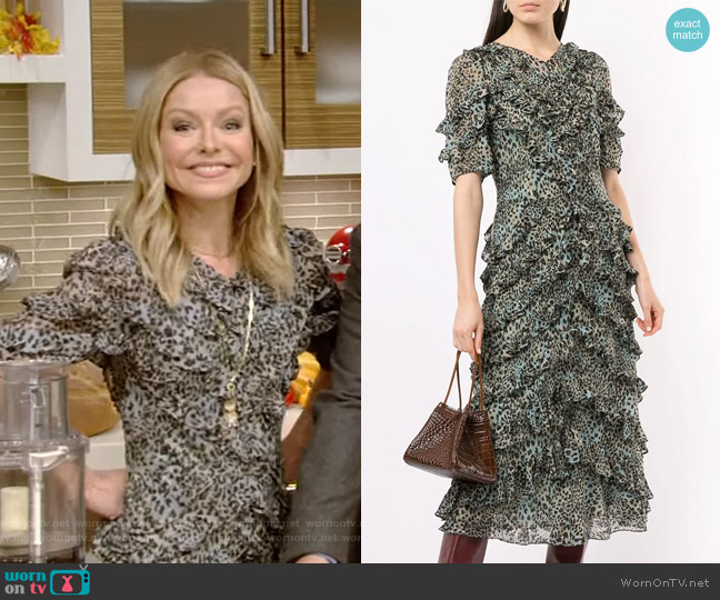 Ruffled Leopard-Print Dress by Rebecca Taylor worn by Kelly Ripa  on Live with Kelly & Ryan