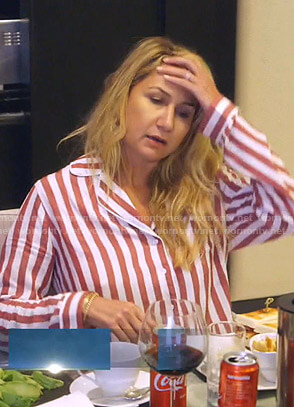 Kary's red striped short pajamas on The Real Housewives of Dallas