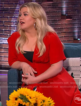 Kelly's red v-neck button down dress on The Kelly Clarkson Show