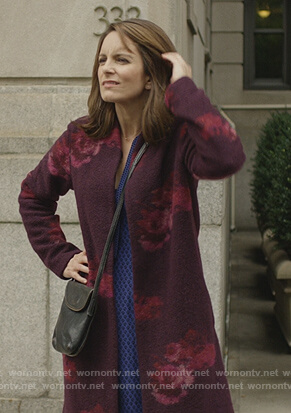 Sarah's red floral wool cardigan on Modern Love