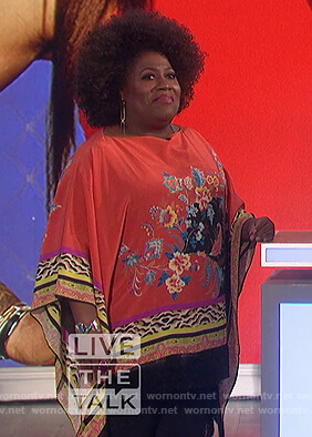 Sheryl's red floral poncho top on The Talk