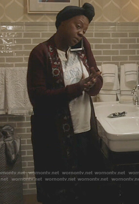 Annalise's red floral trim cardigan on How to Get Away with Murder
