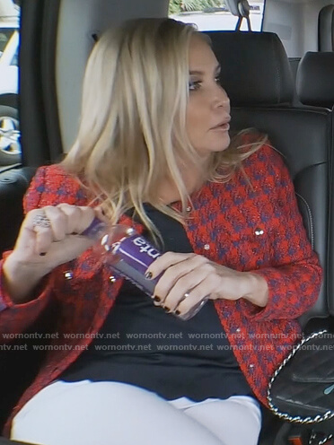 Shannon's red houndstooth tweed jacket on The Real Housewives of Orange County