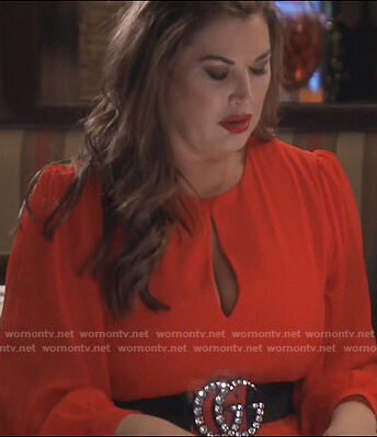 Emily's red keyhole dress on The Real Housewives of Orange County
