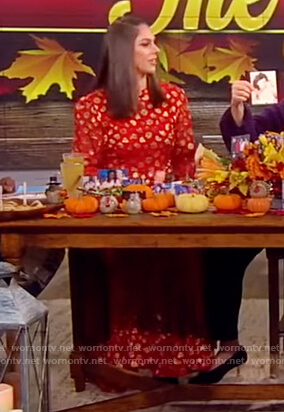 Abby's red floral metallic dress on The View