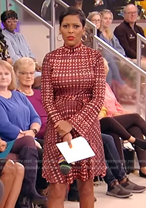 Tamron's red tie waist mini dress on Tamron Hall Show