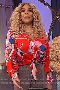 Wendy's on red rope print blouse on The Wendy Williams Show