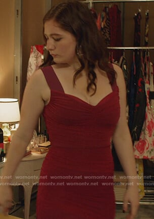 Debbie's red ruched mini dress on Shameless
