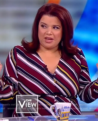 Ana's striped button front dress on The View
