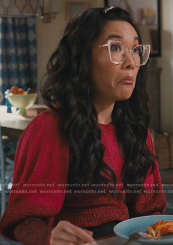 Doris's red stripe puff sleeve sweater on American Housewife