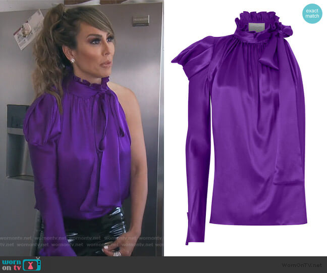One Sleeve Tie Neck Blouse by Redemption worn by Kelly Dodd  on The Real Housewives of Orange County