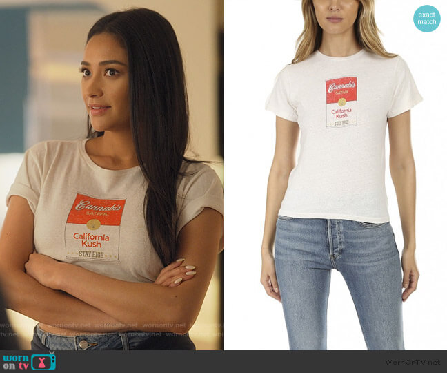 Canned Cannabis Classic Tee by Re/Done worn by Stella Cole (Shay Mitchell) on Dollface