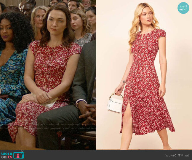 Reformation Fauna Dress worn by Cara Bloom (Violett Beane) on God Friended Me