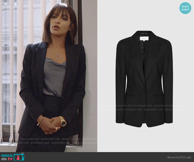 Reiss Hartley Jacket worn by Edie Palmer (Megalyn Echikunwoke) on Almost Family
