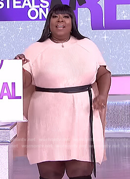 Loni's beige knit cape dress on The Real