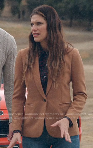 Rio's camel blazer on Bless This Mess
