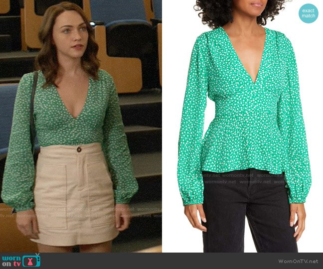 Rixo Kikki Blouse worn by Cara Bloom (Violett Beane) on God Friended Me