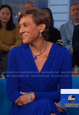 Robin's blue twisted midi dress on Good Morning America