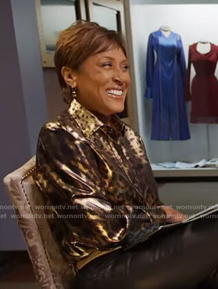 Robin's metallic leopard print blouse on Good Morning America