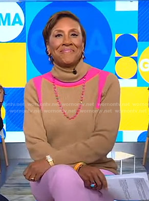Robin's beige and pink contrast turtleneck sweater on Good Morning America
