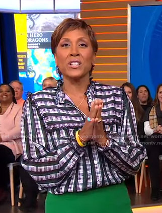 Robin's plaid ruffle blouse on Good Morning America